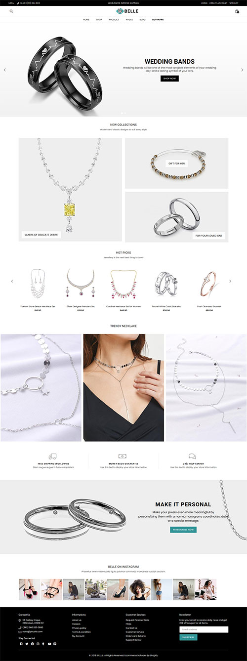 Belle Jewellery Shopify Theme