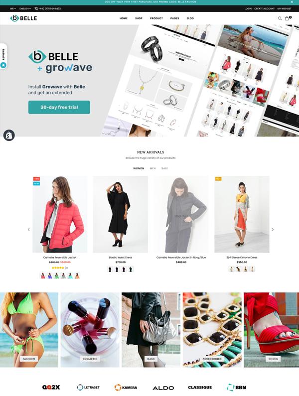 Belle Fullwidth Shopify Store