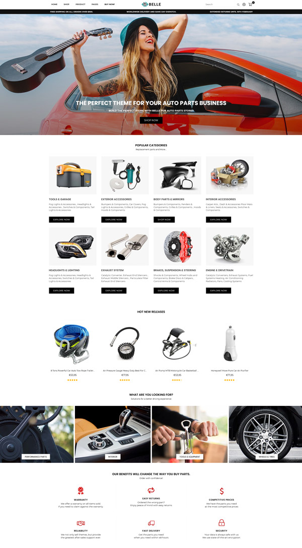 Belle Auto Parts Shopify Theme
