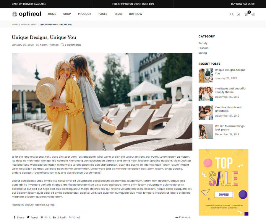 Blog article page
