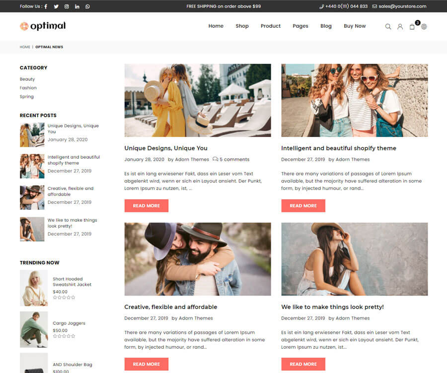 Blog page Grid View