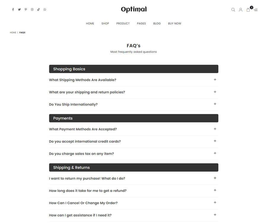 FAQ's Page