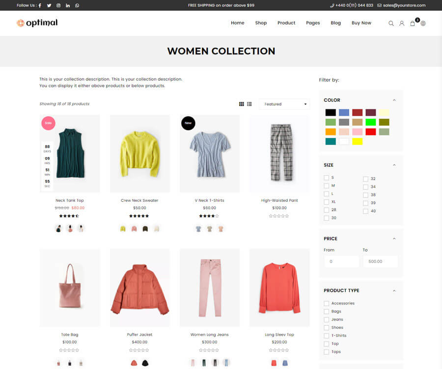 Collection page Right Sidebar