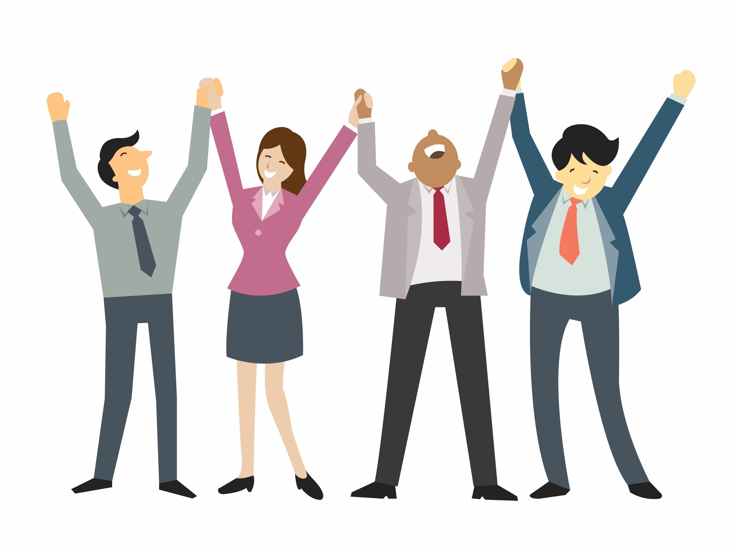 Happy and successful business people, holding hand and raising hands, business concept in teamwork and corporation.